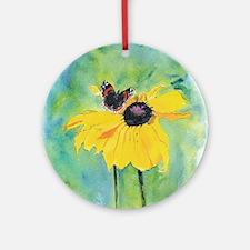 Bea's Butterfly on Black-Eyed Keepsake (Round)