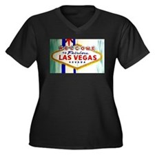 Cute Vegas Women's Plus Size V-Neck Dark T-Shirt