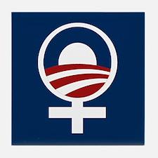 Cute Women for barak obama Tile Coaster