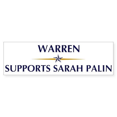 WARREN supports Sarah Palin Bumper Sticker