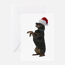 Santa Rottweiler Greeting Cards (Pk of 10)