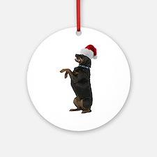 Santa Rottweiler Ornament (Round)
