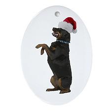 Santa Rottweiler Oval Ornament