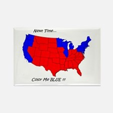 Rectangle Magnet blue red state map