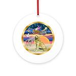 Xmas Star /Golden Retriever 1B Ornament (Round)