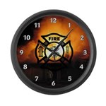 Fire Fighter Photo Large Wall Clock