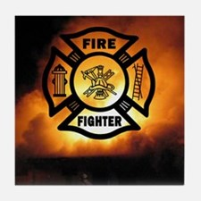 Fire Fighter Photo Tile Coaster