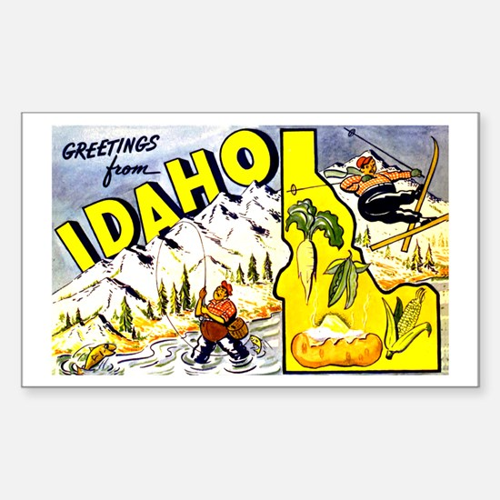 Idaho State Greetings Rectangle Decal
