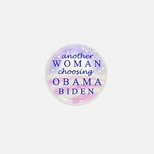 Woman choosing Obama Mini Button