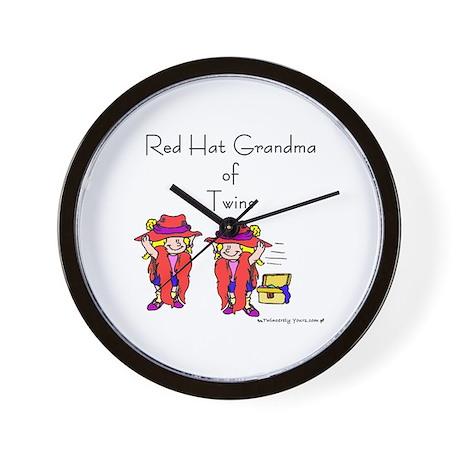Red Hat Grandma of Twins Wall Clock