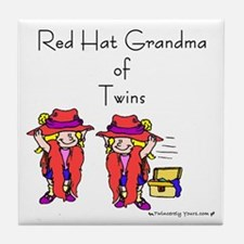 Red Hat Grandma of Twins Tile Coaster