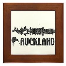 Auckland Skyline Vintage Framed Tile