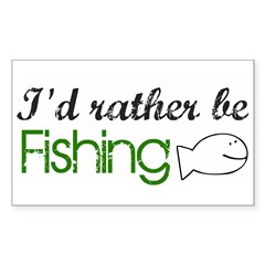 Rather be Fishing Rectangle Decal