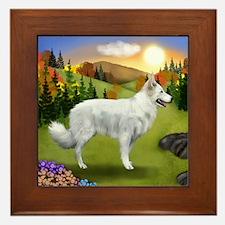 White German Shepherd Dog Fall Framed Tile