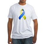 Blue and Yellow Awareness Ribbon Fitted T-Shirt