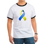 Blue and Yellow Awareness Ribbon Ringer T