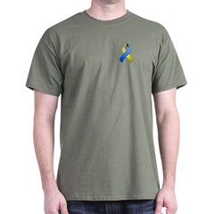 Blue and Yellow Awareness Ribbon T-Shirt