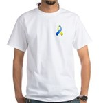 Blue and Yellow Awareness Ribbon White T-Shirt