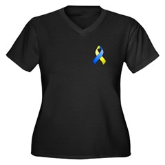 Blue and Yellow Awareness Ribbon Women's Plus Size