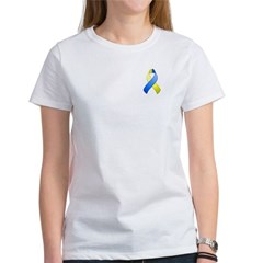 Blue and Yellow Awareness Ribbon Women's T-Shirt