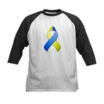 Blue and Yellow Awareness Ribbon Kids Baseball Jer