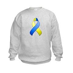 Blue and Yellow Awareness Ribbon Sweatshirt