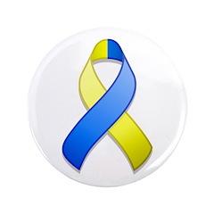 Blue and Yellow Awareness Ribbon 3.5