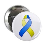 "Blue and Yellow Awareness Ribbon 2.25"" Button (10"