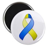 "Blue and Yellow Awareness Ribbon 2.25"" Magnet (100"