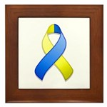 Blue and Yellow Awareness Ribbon Framed Tile