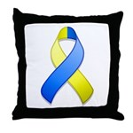 Blue and Yellow Awareness Ribbon Throw Pillow