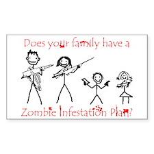 """Family Zombie Plan"" Rectangle Sticker 50 pk)"