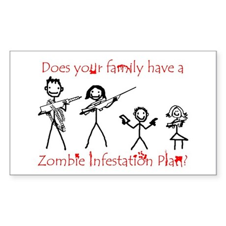"""Family Zombie Plan"" Rectangle Sticker"