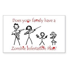 """Family Zombie Plan"" Rectangle Stickers"
