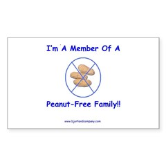Peanut-Free Family Rectangle Decal
