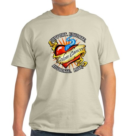 Colon Cancer Tattoo Heart Light T-Shirt