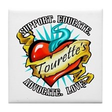 Tourette's Tattoo Heart Tile Coaster