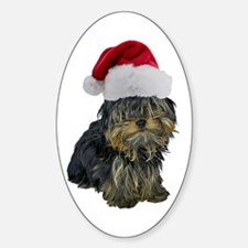 Santa Yorkie Oval Decal