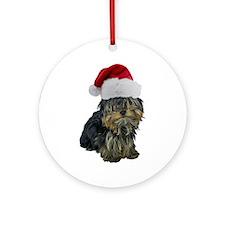 Santa Yorkie Ornament (Round)
