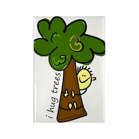 I Hug Trees Rectangle Magnet (100 pack)