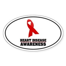Heart Disease Awareness Oval Decal