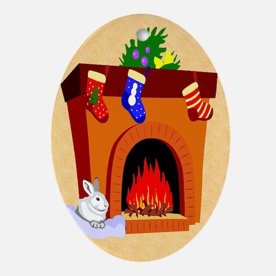 Bunny Rabbit Christmas Oval Ornament
