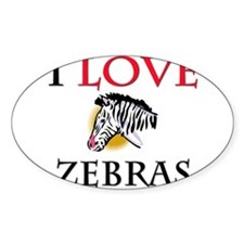 I Love Zebras Oval Decal