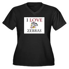 I Love Zebras Women's Plus Size V-Neck Dark T-Shir