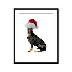Manchester Terrier Christmas Framed Panel Print