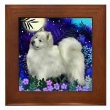 SAMOYED DOG MOON GARDEN Framed Tile