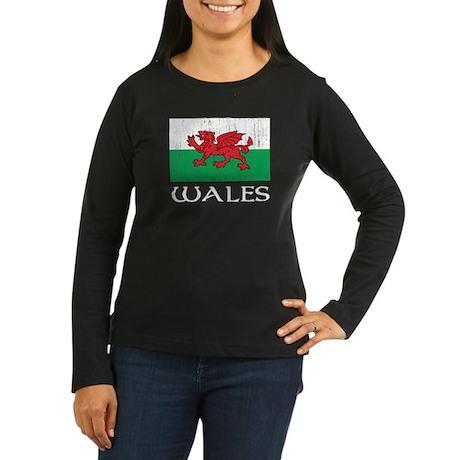 Wales Flag Women's Long Sleeve Dark T-Shirt