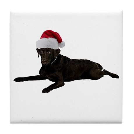 Black Lab Christmas Tile Coaster