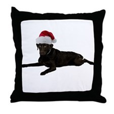 Black Lab Christmas Throw Pillow