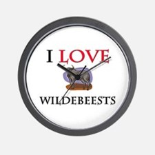 I Love Wildebeests Wall Clock